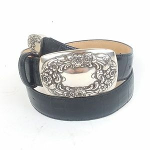 Brighton Floral Black Leather Belt